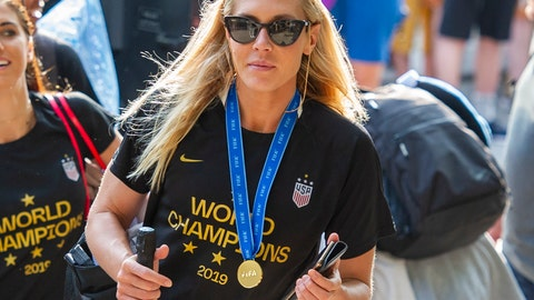 <p>               FILE - In this July 8, 2019 file photo, United States women's soccer team member Allie Long walks to a hotel Monday, July 8, 2019, in New York. The celebration was cut short for Long after she discovered someone had burglarized her hotel room in Los Angeles.  She tweeted on Thursday, July 11, that it happened after the team was honored at The ESPYS on Wednesday night.  (AP Photo/Corey Sipkin, File)             </p>