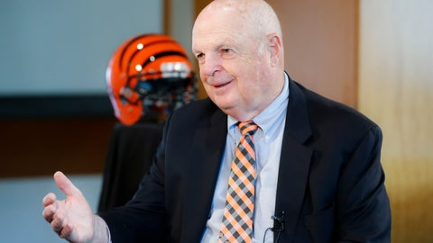 <p>               Mike Brown, owner of the Cincinnati Bengals NFL football team, speaks while being interviewed at Paul Brown Stadium during the team's media luncheon, Tuesday, July 23, 2019, in Cincinnati. (AP Photo/John Minchillo)             </p>