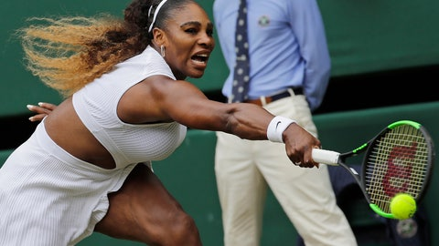 <p>               United States' Serena Williams returns to Germany's Julia Goerges in a Women's singles match during day six of the Wimbledon Tennis Championships in London, Saturday, July 6, 2019. (AP Photo/Ben Curtis)             </p>