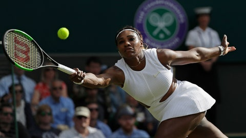 <p>               United States' Serena Williams returns to Italy's Giulia Gatto-Monticone in a Women's singles match during day two of the Wimbledon Tennis Championships in London, Tuesday, July 2, 2019. (AP Photo/Ben Curtis)             </p>