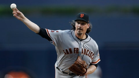 <p>               San Francisco Giants starting pitcher Jeff Samardzija throws against the San Diego Padres during a baseball game Monday, July 1, 2019, in San Diego. (AP Photo/Gregory Bull)             </p>