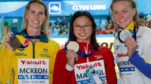<p>               Gold medalist Canada's Margaret MacNeil, centre, stands with silver medalist Sweden's Sarah Sjostrom, right, and bronze medalist Australia's Emma McKeon following the medal ceremony for the women's 100m butterfly final at the World Swimming Championships in Gwangju, South Korea, Monday, July 22, 2019. (AP Photo/Lee Jin-man)             </p>