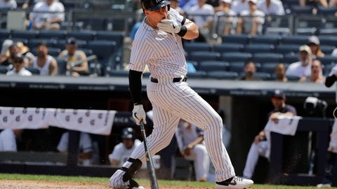 <p>               New York Yankees' Luke Voit reacts after being hit with a pitch during the fourth inning of a baseball game against the Colorado Rockies Saturday, July 20, 2019, in New York. (AP Photo/Frank Franklin II)             </p>