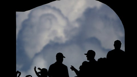 <p>               Fans watch from the shade of a concourse during the eighth inning of a baseball game between the Kansas City Royals and the Detroit Tigers as clouds build in the distance Sunday, July 14, 2019, in Kansas City, Mo. (AP Photo/Charlie Riedel)             </p>