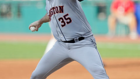 <p>               Houston Astros starting pitcher Justin Verlander delivers in the first inning of a baseball game against the Cleveland Indians, Tuesday, July 30, 2019, in Cleveland. (AP Photo/Tony Dejak)             </p>