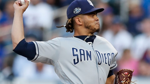 <p>               San Diego Padres starting pitcher Dinelson Lamet winds up during the first inning of a baseball game against the New York Mets, Wednesday, July 24, 2019, in New York. (AP Photo/Kathy Willens)             </p>