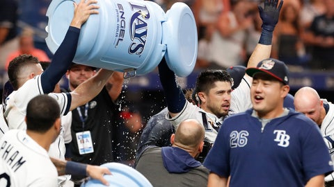 <p>               Tampa Bay Rays Travis d'Arnaud raises his arms after hitting the game-winning home run against the New York Yankees during the ninth inning of a baseball game Saturday, July 6, 2019, in St. Petersburg, Fla. (AP Photo/Scott Audette)             </p>