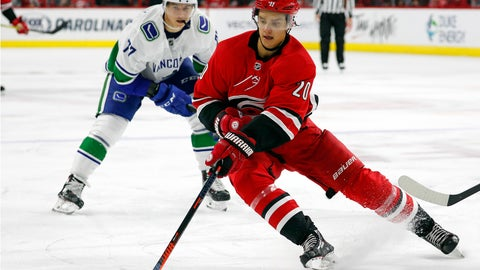 <p>               FILE - In this Oct. 9, 2018, file photo, Carolina Hurricanes' Sebastian Aho (20) gathers in the puck in front of Vancouver Canucks' Nikolay Goldobin (77) during the second period of an NHL hockey game in Raleigh, N.C. The Montreal Canadiens have tendered an offer sheet to Carolina Hurricanes restricted free agent forward Sebastian Aho. The offer sheet is worth $42.27 million over five years, an annual salary cap hit of $8.54 million. If Carolina does not match it, the Canadiens must send a first-, second- and third-round pick to the Hurricanes. It's the first offer sheet in the NHL since 2013. (AP Photo/Karl B DeBlaker, File)             </p>