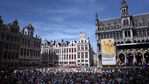 <p>               People gather at the Grand Place in Brussels as they wait for the Tour de France cycling race teams presentation, Thursday, July 4, 2019, ahead of upcoming Saturday's start of the race. (AP Photo/Thibault Camus)             </p>