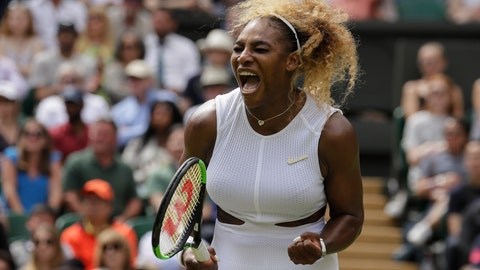 <p>               United States' Serena Williams celebrates after winning a point against United States' Alison Riske during a women's quarterfinal match on day eight of the Wimbledon Tennis Championships in London, Tuesday, July 9, 2019. (AP Photo/Kirsty Wigglesworth)             </p>