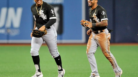 <p>               Chicago White Sox outfielders John Jay, left, and Leury Garcia, right, smile as they jog off the field after a win over the Tampa Bay Rays in a baseball game Friday, July 19, 2019, in St. Petersburg, Fla. (AP Photo/Steve Nesius)             </p>