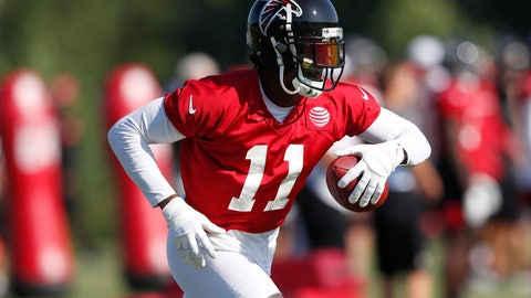 <p>               Atlanta Falcons wide receiver Julio Jones (11) runs after a catch during their NFL training camp football practice Thursday, July 25, 2019, in Flowery Branch, Ga. (AP Photo/John Bazemore)             </p>