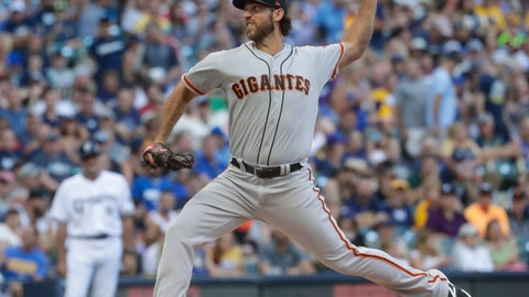 <p>               San Francisco Giants starting pitcher Madison Bumgarner throws during the first inning of a baseball game against the Milwaukee Brewers Saturday, July 13, 2019, in Milwaukee. (AP Photo/Morry Gash)             </p>