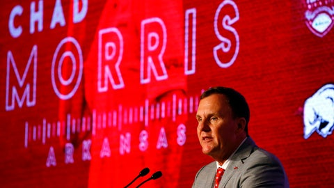 <p>               Arkansas head coach Chad Morris speaks to reporters during the NCAA college football Southeastern Conference Media Days, Wednesday, July 17, 2019, in Hoover, Ala. (AP Photo/Butch Dill)             </p>