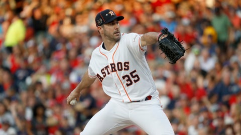 <p>               American League starting pitcher Justin Verlander, of the Houston Astros, throws during the first inning of the MLB baseball All-Star Game against the National League, Tuesday, July 9, 2019, in Cleveland. (AP Photo/John Minchillo)             </p>