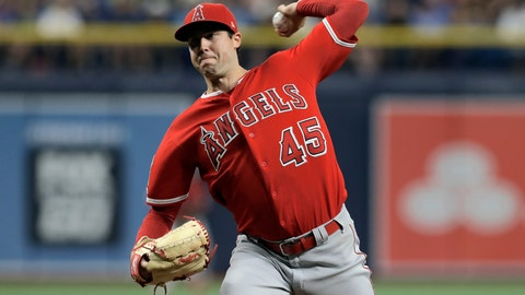 <p>               FILE - In this June 13, 2019 file photo Los Angeles Angels' Tyler Skaggs pitches to the Tampa Bay Rays during the first inning of a baseball game in St. Petersburg, Fla. Tyler Skaggs has died at age 27, Monday, July 1, 2019. Skaggs started the Angels' game Saturday night against the Athletics. Their game against the Texas Rangers on Monday night has been postponed. (AP Photo/Chris O'Meara, file)             </p>