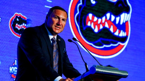 <p>               Head Coach Dan Mullen, of Florida, speaks during the NCAA college football Southeastern Conference Media Days, Monday, July 15, 2019, in Hoover, Ala. (AP Photo/Butch Dill)             </p>