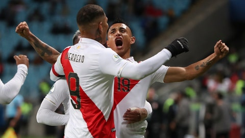 <p>               Peru's Victor Yotun, right, celebrates scoring his side's second goal with teammate Paolo Guerrero during a Copa America semifinal soccer match against Chile at the Arena do Gremio in Porto Alegre, Brazil, Wednesday, July 3, 2019. (AP Photo/Ricardo Mazalan)             </p>