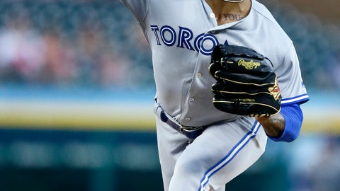 <p>               Toronto Blue Jays' Marcus Stroman pitches against the Detroit Tigers during the second inning of a baseball game, Friday, July 19, 2019, in Detroit. (AP Photo/Duane Burleson)             </p>
