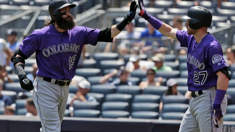 <p>               Colorado Rockies' Charlie Blackmon, left, celebrates with Trevor Story after hitting a solo home run during the first inning of a baseball game against the New York Yankees at Yankee Stadium, Sunday, July 21, 2019, in New York. (AP Photo/Seth Wenig)             </p>