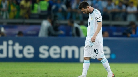 <p>               Argentina's Lionel Messi reacts after Brazil's Gabriel Jesus scored during the Copa America semifinal soccer match at Mineirao stadium in Belo Horizonte, Brazil, Tuesday, July 2, 2019. (AP Photo/Victor R. Caivano)             </p>