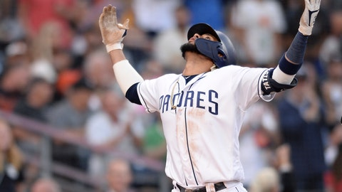 <p>               San Diego Padres' Fernando Tatis Jr. gestures after hitting a two-run home run during the fifth inning of a baseball game against the San Francisco Giants Saturday, July 27, 2019, in San Diego. (AP Photo/Orlando Ramirez)             </p>