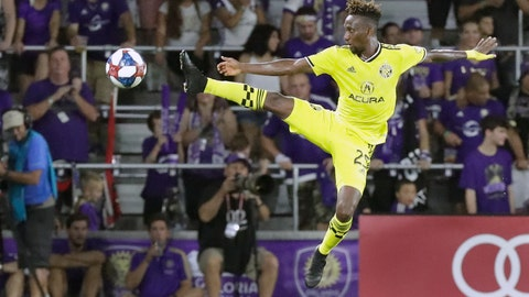 <p>               Columbus Crew's Harrison Afful tries to control a pass from a teammate during the second half of the team's MLS soccer match against Orlando City, Saturday, July 13, 2019, in Orlando, Fla. (AP Photo/John Raoux)             </p>