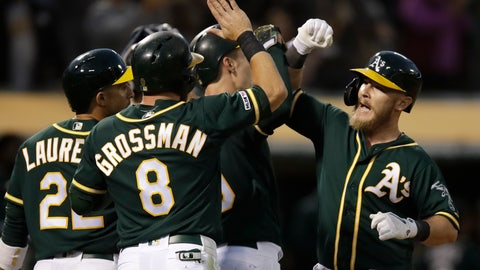 <p>               Oakland Athletics' Chris Herrmann, right, celebrates after hitting a grand slam off Minnesota Twins' Jake Odorizzi in the fourth inning of a baseball game Tuesday, July 2, 2019, in Oakland, Calif. (AP Photo/Ben Margot)             </p>