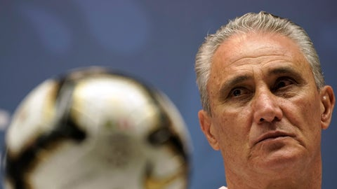 <p>               Brazil coach Tite attends a press conference at the Maracana stadium in Rio de Janeiro, Brazil, Saturday, July 6, 2019. Brazil will face Peru for the Copa America title soccer match on Sunday. (AP Photo/Leo Correa)             </p>