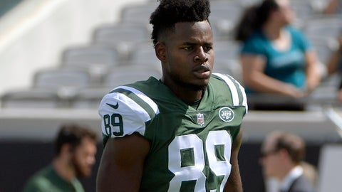 <p>               FILE - In this Sept.30, 2018, file photo, New York Jets tight end Chris Herndon warms up before an NFL football game against the Jacksonville Jaguars in Jacksonville, Fla. Herndon has been suspended without pay by the NFL for the first four regular-season games for violating the league's substance abuse policy. Herndon pleaded guilty in January to driving while intoxicated in New Jersey in June 2018. (AP Photo/Phelan M. Ebenhack, File)             </p>