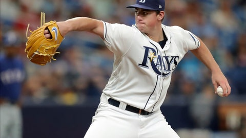 <p>               Tampa Bay Rays starting pitcher Brendan McKay throws against the Texas Rangers in the second inning of his Major League debut in a baseball game Saturday, June 29, 2019, in St. Petersburg, Fla. (AP Photo/Mike Carlson)             </p>