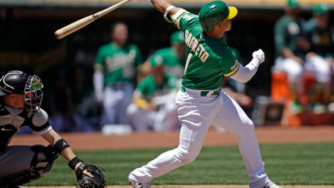 <p>               Oakland Athletics' Franklin Barreto swings for a three-run home run off Chicago White Sox pitcher Ross Detwiler in the first inning of a baseball game Saturday, July 13, 2019, in Oakland, Calif. (AP Photo/Ben Margot)             </p>