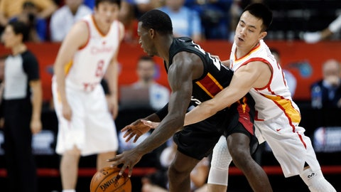 <p>               China's Zhao Jiwei (24) fouls Miami Heat's Kendrick Nunn (25) during an NBA summer league basketball game Friday, July 5, 2019, in Las Vegas. (AP Photo/Steve Marcus)             </p>