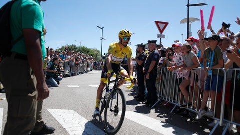 <p>               France's Julian Alaphilippe wearing the overall leader's yellow jerse arrives for the start of the fifth stage of the Tour de France cycling race over 175.5 kilometers (109 miles) with start in Saint-Die-Des-Vosges and finish in Colmar, Wednesday, July 10, 2019. (AP Photo/Thibault Camus)             </p>