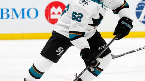 <p>               FILE - In this May 15, 2019, file photo, San Jose Sharks' Kevin Labanc (62) moves the puck against St. Louis Blues during the third period in Game 3 of the NHL hockey Stanley Cup Western Conference final series in St. Louis. The Sharks have re-signed forward Labanc to a one-year contract. Labanc was a restricted free agent coming off his best NHL season. The 23-year-old registered a career-high 17 goals, 39 assists, 56 points and four game-winners and helped the Sharks reach the Western Conference final. General manager Doug Wilson in announcing the deal Monday, July 8, 2019, said Labanc has grown into an important part of the team in San Jose. (AP Photo/Jeff Roberson, File)             </p>