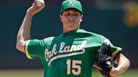 <p>               Oakland Athletics pitcher Homer Bailey works against the Seattle Mariners in the first inning of a baseball game Wednesday, July 17, 2019, in Oakland, Calif. (AP Photo/Ben Margot)             </p>