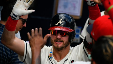 <p>               Atlanta Braves' Josh Donaldson is welcomed to the dugout after his two-run home run during the third inning of a baseball game against the Miami Marlins, Sunday, July 7, 2019, in Atlanta. (AP Photo/John Amis)             </p>