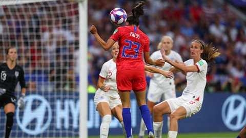 LYON, FRANCE - JULY 02: Christen Press of the USA scores her team's first goal during the 2019 FIFA Women's World Cup France Semi Final match between England and USA at Stade de Lyon on July 02, 2019 in Lyon, France. (Photo by Catherine Ivill - FIFA/FIFA via Getty Images)