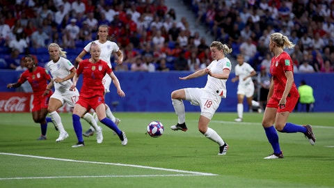LYON, FRANCE - JULY 02: Ellen White of England scores her team's first goal during the 2019 FIFA Women's World Cup France Semi Final match between England and USA at Stade de Lyon on July 02, 2019 in Lyon, France. (Photo by Alex Grimm/Getty Images)