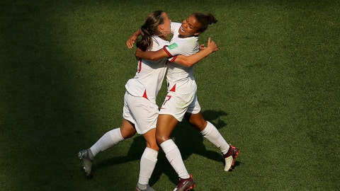 NICE, FRANCE - JULY 06: Fran Kirby of England celebrates with teammate Nikita Parris after scoring her team's first goal during the 2019 FIFA Women's World Cup France 3rd Place Match match between England and Sweden at Stade de Nice on July 06, 2019 in Nice, France. (Photo by Maddie Meyer - FIFA/FIFA via Getty Images)