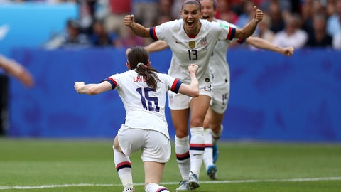 LYON, FRANCE - JULY 07:  Rose Lavelle of the USA celebrates with teammate Alex Morgan after scoring her team's second goal during the 2019 FIFA Women's World Cup France Final match between The United States of America and The Netherlands at Stade de Lyon on July 07, 2019 in Lyon, France. (Photo by Maja Hitij/Getty Images)
