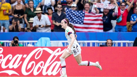 LYON, FRANCE - JULY 07: #16 Rose Lavelle of USA celebrates her goal during the 2019 FIFA Women's World Cup France Final match between The United State of America and The Netherlands at Stade de Lyon on July 07, 2019 in Lyon, France. (Photo by Zhizhao Wu/Getty Images)