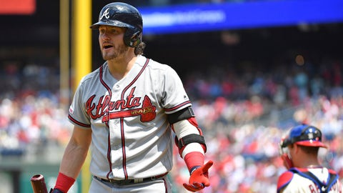 Jul 28, 2019; Philadelphia, PA, USA; Atlanta Braves third baseman Josh Donaldson (20) reacts after being called out on strikes against the Philadelphia Phillies during the first inning at Citizens Bank Park. Mandatory Credit: Eric Hartline-USA TODAY Sports