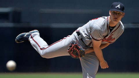 Jul 14, 2019; San Diego, CA, USA; Atlanta Braves starting pitcher Mike Soroka (40) pitches during the first inning against the San Diego Padres at Petco Park. Mandatory Credit: Jake Roth-USA TODAY Sports