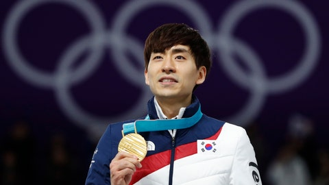 <p>               FILE - In this Feb. 24, 2018, file photo, Gold medalist Lee Seung-hoon of South Korea celebrates on the podium of the men's mass start speedskating race at the Gangneung Oval at the 2018 Winter Olympics in Gangneung, South Korea. South Korea's skating body on Wednesday, July 10, 2019, has decided to ban two-time Olympic speed skating champion Lee for a year over allegations that he assaulted two teammates during several international competitions. (AP Photo/John Locher, File)             </p>