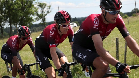<p>               Colombia's Egan Arley Bernal Gomez, left, Britain's Geraint Thomas, center, and Italy's Gianni Moscon ride during the ninth stage of the Tour de France cycling race over 170.5 kilometers (105.94 miles) with start in Saint Etienne and finish in Brioude, France, Sunday, July 14, 2019. (AP Photo/Thibault Camus)             </p>