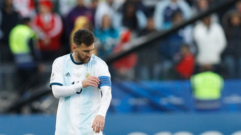 <p>               Argentina's Lionel Messi touches his captain band during Copa America third-place soccer match against Chile at the Arena Corinthians in Sao Paulo, Brazil, Saturday, July 6, 2019. (AP Photo/Victor R. Caivano)             </p>