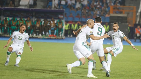 <p>               Algerian players celebrate after a goal during the African Cup of Nations final soccer match between Algeria and Senegal in Cairo International stadium in Cairo, Egypt, Friday, July 19, 2019. (AP Photo/Amr Nabil)             </p>