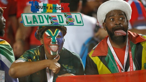 <p>               South African fans cheer before the African Cup of Nations round of 16 soccer match between Egypt and South Africa in Cairo International stadium in Cairo, Egypt, Saturday, July 6, 2019. (AP Photo/Ariel Schalit)             </p>