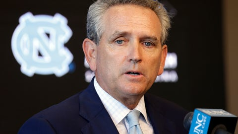 "<p>               FILE - In this Aug. 6, 2018, file photo, University of North Carolina athletic director Bubba Cunningham makes comments during the NCAA college football team's media day in Chapel Hill, N.C.  North Carolina had enough coaching changes last season to surprise even athletics director Bubba Cunningham. Cunningham hired five new head coaches for next season, telling The Associated Press that hopes the changes create ""an enthusiasm, a vibrancy … and an excitement about the future.""  (AP Photo/Gerry Broome, File)             </p>"
